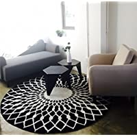 LI LU SHOP Stylish Black And White Round Living Room Coffee Table Large Carpet (Size : 160CM)