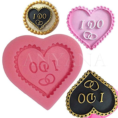 Anyana Wedding Love Baking Molds Heart With I Do Silicone Fondant molds vintage Cake Decorating Tools Gumpaste cupcake topper decorations resin Clay Chocolate Candy Molds Non stick easy to use ()