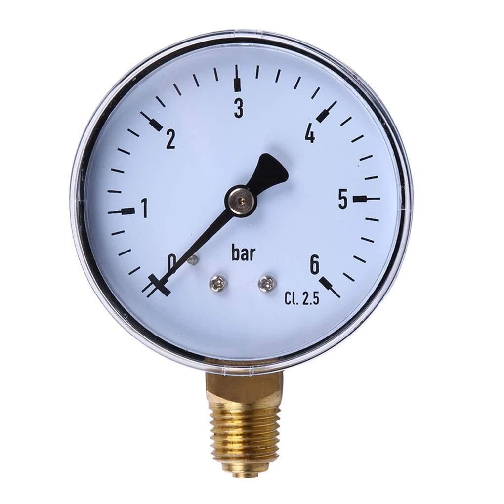 Montaggio Laterale manometro di manopola per la Pressione del Carburante Air Olio Acqua Strumenti di Misura Lorsoul 0-6bar 1//4 NPT Pressione Discussione Gauge