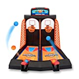 Tabletop Mini Basketball Shooting Game, Prevently New Creative Desktop Game 2 Players Shootout Hoops Basketball with Scoring Device Desktop Pinball Machine Game for Children Kids (Multicolor)