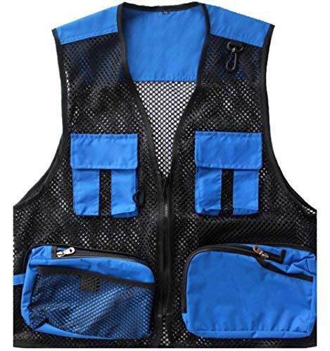 En Pêche Blue Hommes Vêtements Pocket Photographie Paragraphe Plein Air Mode Saoye Manches Sans Veste Loose Été Maille x8PffwqRS