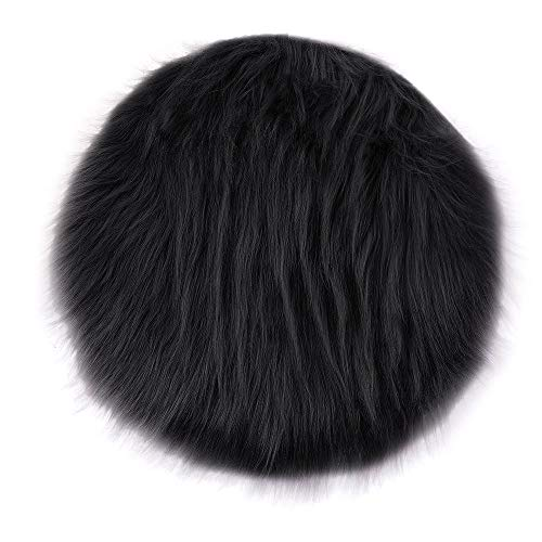 Digood Round Area Rug, Fluffy Silky Super Soft Carpet Fashion Color Smooth Bedroom Mats Round Shag Floor Pad for Girls Bedroom Decorate and Indoor Use, 55CM (Black)