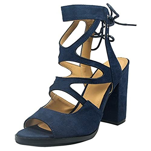 47f5f3a408753 outlet BF Betani Women's Cutout Gladiator Stacked Chunky Heel ...