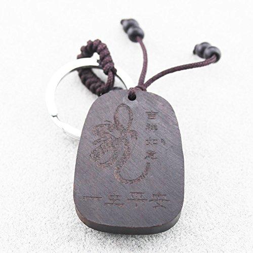 FOY-MALL Dragon Ebony Wood Carved Men Women Car/Bag Key Chain M1148 by FOY-MALL (Image #3)
