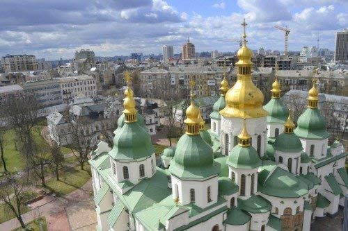 Home Comforts Peel-n-Stick Poster of Kiev St Sophia Cathedral Skyline Ukraine Vivid Imagery Poster 24 x 16 Adhesive Sticker Poster Print