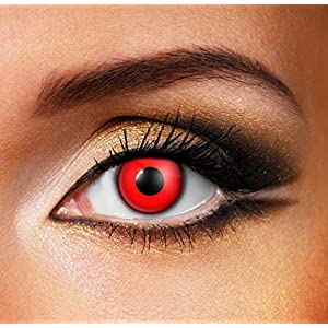 Adults Mens Ladies Red Out Halloween Carnival Cosmetic Coloured Fancy Dress Eye Wear Accessory