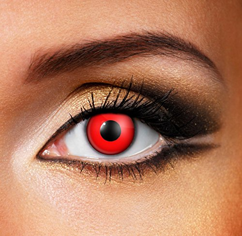 Adults Mens Ladies Red Out Halloween Carnival Cosmetic Coloured Fancy Dress Eye Wear Accessory (Red Contact Lenses Halloween)