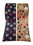 4th of July Wired Burlap Ribbon with American Flag Stars Print - 2 Rolls - Each Roll 2.5 Wide by 15 Feet Long
