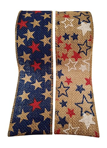 (4th of July Wired Burlap Ribbon with American Flag Stars Print - 2 Rolls - Each Roll 2.5 Wide by 15 Feet)