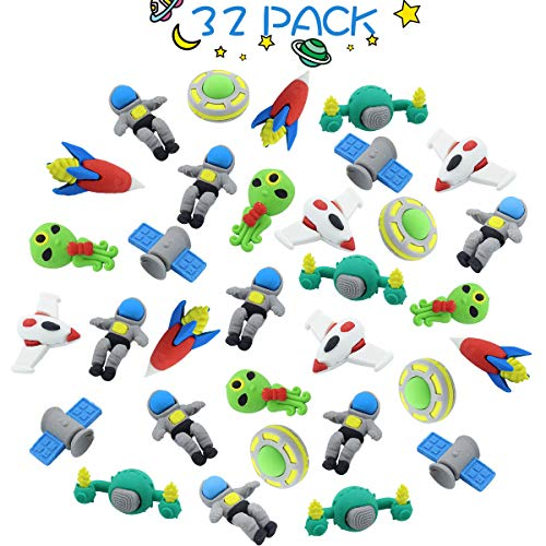 GeeVen 32 PCs Pencil Erasers Outer Space Erasers Puzzle Erasers for Kids Party Favors Supplies (Eraser Ufo)