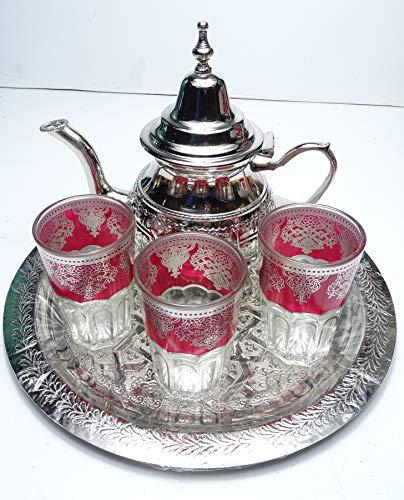 kenta artesanias Juego de marroqui 3 Vasos de 10 cm + Bandeja 30 cm repujada + Tetera Grande