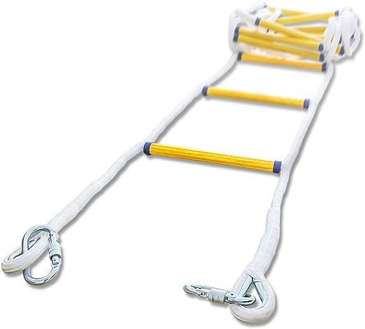 Escalera de cuerda de emergencia contra incendios con 2 ganchos for niños y adultos, juego de escalada for accesorios de columpio, casa del árbol, parque infantil, juego de juegos (Size :
