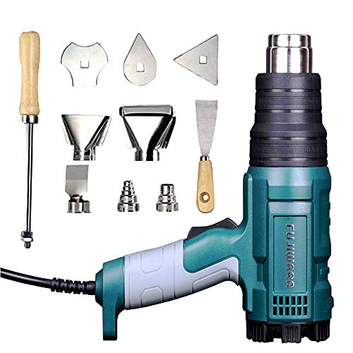 Heat Gun Variable Temperature, Hot Air Gun 122°F - 1020°F with 5 Nozzle Attachments for Stripping Paint, Shrinking PVC/Wrap, Cell Phone Repairs (1500W (2 Temp Setting)) (Best Heat Gun For Phone Repair)