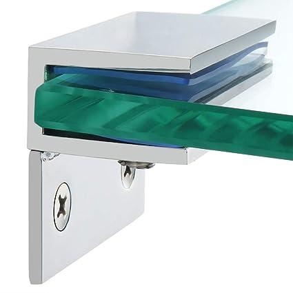 Alise 2 Pcs Adjustable Frameless Rectangle Glass Shelf Bracket Holder with  Leg Heavy Duty Clamp Shelf Clip,SUS 304 Stainless Steel Polished Chrome