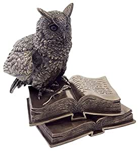 6.5 Inch Silver Color Metal Eagle Owl on Books Statue