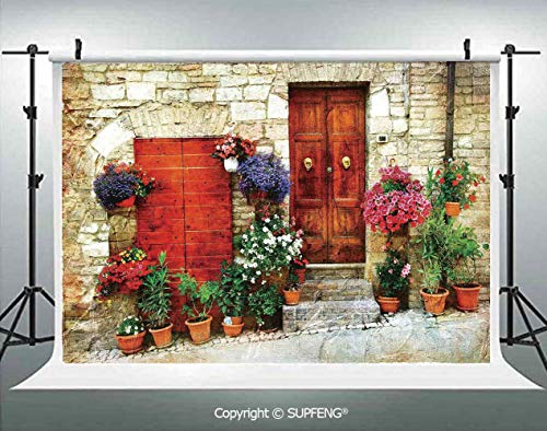- Photography Background Colorful Flowers Outside Home in Italian Hilltown Assisi Rustic Door Image 3D Backdrops for Photography Backdrop Photo Background Studio Prop