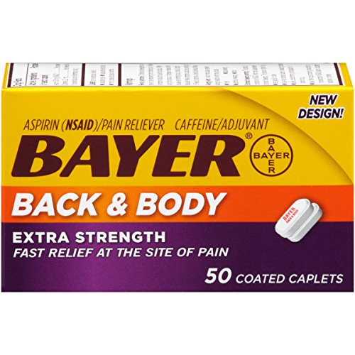 Bayer Aspirin Pain Reliever, Extra Strength Back & Body Pain, 50-Count Caplets