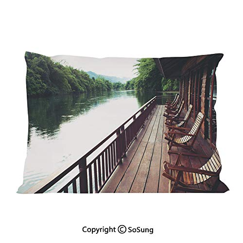 (SoSung Asian Bed Pillow Case/Shams Set of 2,Wooden Chairs in Floating Hotel on The River Kawai in Thailand Idyllic Resort Travel King Size Without Insert (2 Pack Pillowcase 36