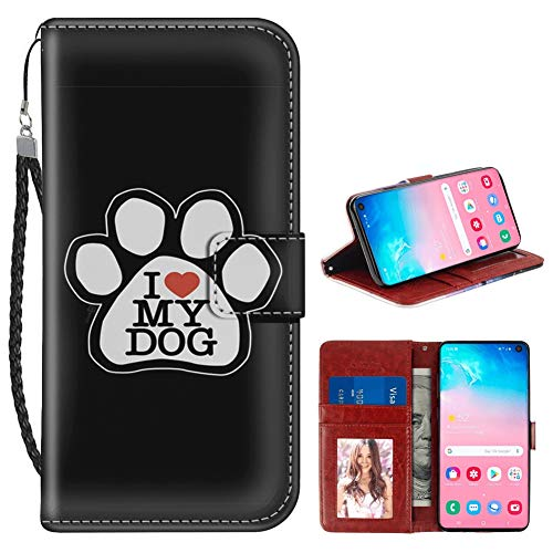 Prints Wallet Paw (I Love My Dog Samsung Galaxy S10e Wallet Case PU Leather Cover and TPU Protective Phone case with Card Holder Magnetic Folio Flip Samsung Galaxy S10e Case Wallet)