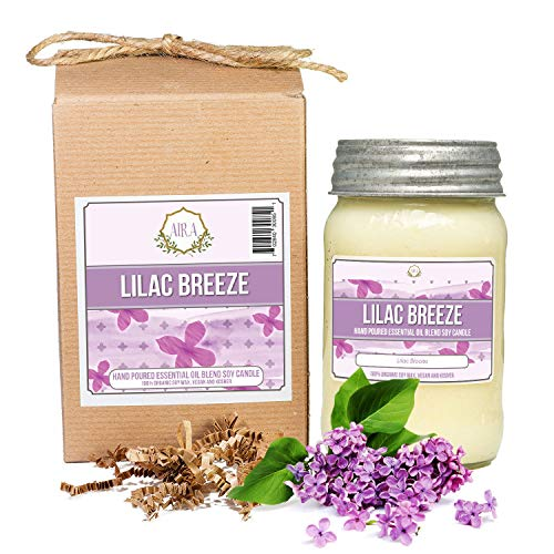 Aira Soy Candles - Organic, Kosher, Vegan, in Mason Jar w/Therapeutic Grade Essential Oils - Hand-Poured 100% Soy Candle Wax - Paraffin Free Burns 110+ Hours - Spring Candle Lilac - Oz 16 Lilac Jar