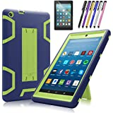 Mignova case for The New Amazon Fire HD 8 Tablet (7th and 8th Generation, Released 2017/2018) - Heavy Duty Hybrid case with Built-in Kickstand+ Screen Protector and Stylus (Navy Blue/Green)
