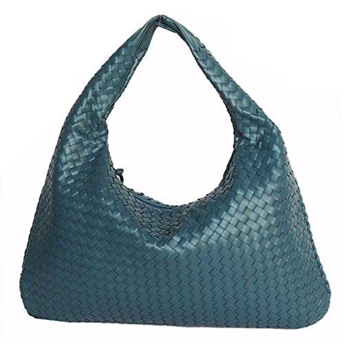 woven Shoulder Bag Black Color Hand Blue Fashion Leather Woven Bag Handbags OPwXZ