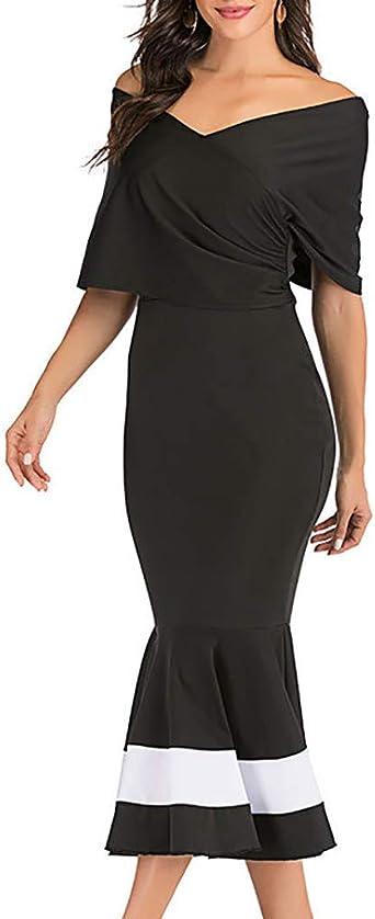 Transwen Damska Elegant Off Shoulder Schulterfreies Bodycon Etui Kleid Rüschensaum Volant Rüschen Saum Midikleid Etuikleid Vintage Abendkleider Festliche Kleider: Odzież
