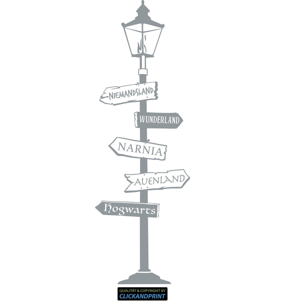 CLICKANDPRINT  Aufkleber » Fantasy Wegweiser, 180x60,1cm, Silbergrau • • • Wandtattoo Wandaufkleber Wandsticker Wanddeko Vinyl B075DHWF9S Wandtattoos & Wandbilder 45358f