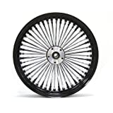 "18x3.5"" BLACK FAT SPOKE REAR WHEEL HARLEY FLT TOURING ROAD KING SOFTAIL 2000-07"