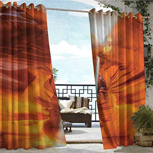 Outdoor- Free Standing Outdoor Privacy Curtain Americana,Sandstone Sunbeam Canyon,W84 xL84 Silver Grommet Top Drape