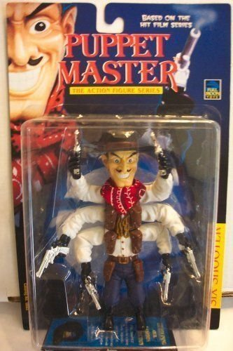 Puppet Master Six Shooter Vintage 1997 Action Figure (Variant w/ Brown Hat & Holsters, White Shirt, Red Bandana, Purple Pants, Black Boots and Gloves, and Silver Guns) (Puppet Master Action Figures)