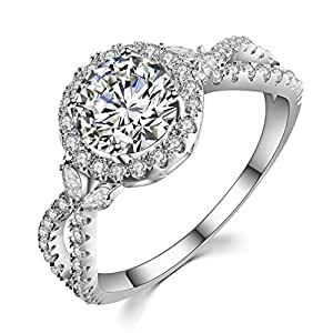 """GuqiGuli """"Luxe Willow 1.25 Ct Sterling Silver Halo Cubic"""