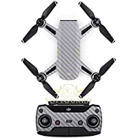 SopiGuard Silver Carbon Fiber Precision Edge-to-Edge Coverage Vinyl Sticker Skin Controller 3 x Battery Wraps for DJI Spark