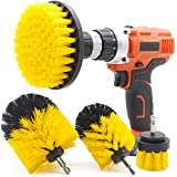GOH DODD Drill Brush, 4 PCS Yellow Power Scrubber Cleaning Kit Attachment for Bathroom Surfaces Tub, Shower, Tile, Carpet, Grout, Bath Mat, Kitchen, Stove, Oven, Sink, Outdoor