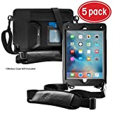 rooCASE 5-Pack Utility Sleeve Case with Breakaway Safety Carrying Strap for OtterBox Defender iPad Air 2 Series, Black