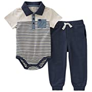 Calvin Klein Baby Boys 2 Pieces Creeper Pant Set, Oatmeal/Navy, 12M