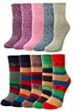 10 Pairs Womens Vintage Style Winter Thick Knitting Warm Wool Crew Socks