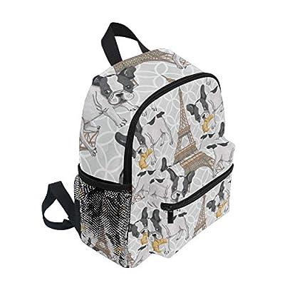 KUWT Paris Eiffel Tower French Bulldog Backpack Kids Toddler Child School Bag for Preschool Kindergarten Boy Girls: Computers & Accessories