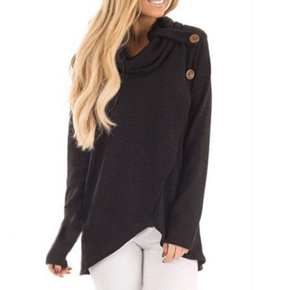 Maonet Women's Autumn Winter Long Sleeve Casual Solid Sweatshirt Pullover Top Blouse (S, Black)