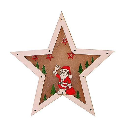 Socialme-EU Adorno de Madera Luminoso Decoración Navideña Luces LED Ciervo Estrella Árbol Libro Forma Redonda Navidad Decorativo(Estrella de Cinco ...