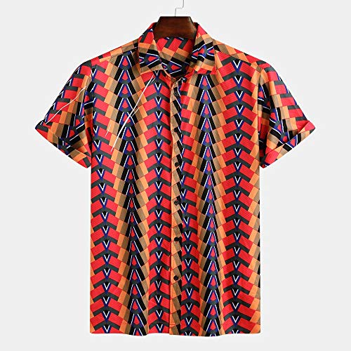 (Mens Colorful Casual Shirt,Ethnic Printed Turn Down Collar Short Sleeve Loose Casual Shirts for Beach Party Red)