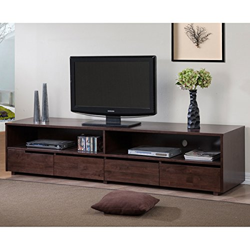 78.50 Inches 4 Drawer Dark Walnut Finish Entertainment Center Solid Rubberwood Construction TV Stand