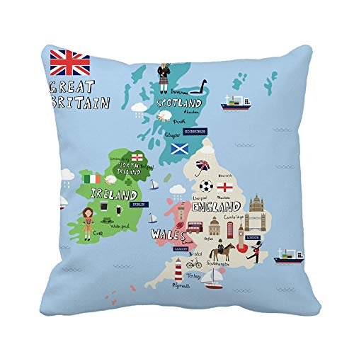 Awowee Throw Pillow Cover Liverpool Great Britain Map Graphic Info British Manchester Town 18x18 Inches Pillowcase Home Decorative Square Pillow Case Cushion Cover (Liverpool Pillowcase)