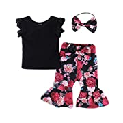 Seaby Baby Girls Outfits Cotton Black Shirts Tops + Floral Pants + Headband 3pcs Clothes Set (6-12 Months, A)