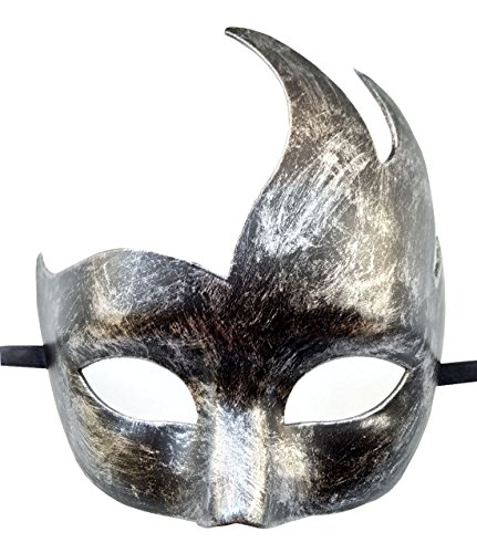 Flywife Masquerade Mask Venetian Party Mask Halloween Costumes Black Mardi Gras Mask (Silver -