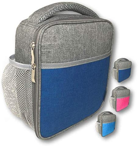 Lunch Box Insulated Bag for Boys Kids Durable Upright Soft Bags for School Lunches Compact Small Cooler Boxes for Boy or Girl Adult or Teen Water Bottle Holder Grey Aqua Blue
