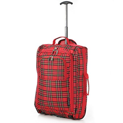 "21""/55cm Black Carry On Lightweight Cabin Trolley Bag Hand Luggage ... (Tartan Red)"