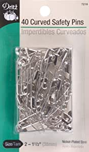 Dritz size 2 Curved Safety Pins are just the right angle for easy penetration of quilt layers with no shifting. Size 2 is recommended for high loft batting. Nickel-plated steel, 40 Ct.
