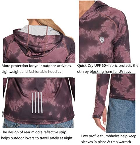 Womens Hoodies UPF 50+ Sun Protection Long Sleeve Outdoor T-Shirt Athletic Tops