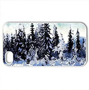 Winter Wonderland - Case Cover for iPhone 4 and 4s (Winter Series, Watercolor style, White)